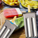 Awinking Set of 6 Stainless Steel Popsicle Mold, Homemade Ice Lolly Maker with Tray/50 Reusable Bamboo Sticks/16 Silicone Seals/20 Pop Bags/Cleaning Brush