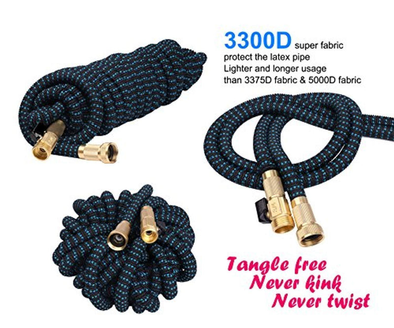 2018 Expandable Garden Hose 50ft - Best Water Hose with 3/4 Brass Connectors, 100% No Rust, Kinks or Leaks, Extra Strong Fabric - Outdoor Hose with 9-Way Spray Nozzle - Flexible Expanding Hose 50ft