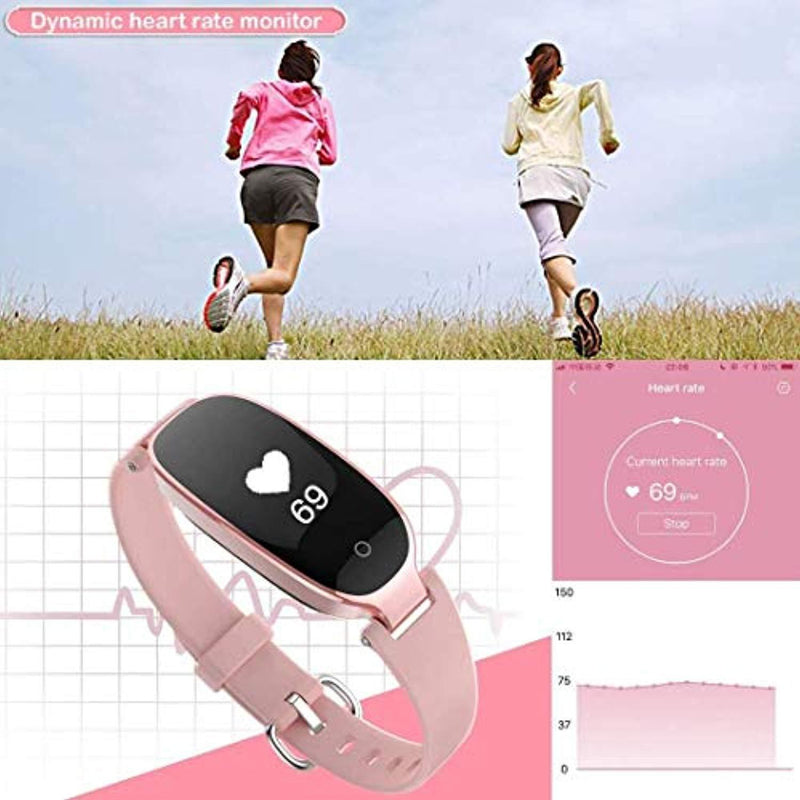 Fitness Tracker,Women Smart Fitness Watch, Heart Rate Monitor Smart Bracelet IP67 Waterproof Smart Bracelet with Health Sleep Activity Tracker Pedometer for Smartphone. (Rose Gold)