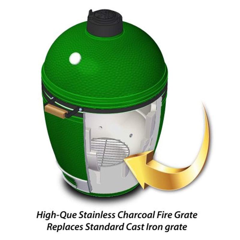 "Stainless High Heat Charcoal Fire Grate Upgrade for Large/MiniMax Big Green Egg Grill - 9"" - 10yr Warranty"