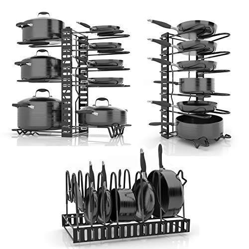 SKATCO Pot Organizer Rack – Metal Pots & Pans Organizer – Pantry & Kitchen Cabinet Organizer – Heavy Duty Lids, Dishes, Pots and Pans Organizer – Horizontal & Vertical Pan Rack with 3 Use Methods