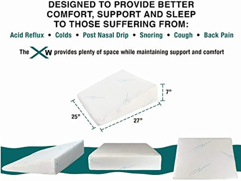 "Xtreme Comforts 7"" Memory Foam Bed Wedge Pillow, Hypoallergenic Breathable, Washable Bamboo Cover, Elevated Support Cushion, Acid Reflux, Lower Back Pain, Heartburn, Snoring, Allergies, Post Nasal"