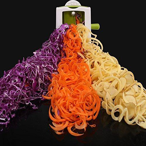 Spiralizer Vegetable Slicer, 5 Blades Zoodle Maker with Strong Hold Suction, Veggie Spiralizers Zucchini Spiral Noodle Spaghetti Maker for Low Carb/Gluten-Free Meals