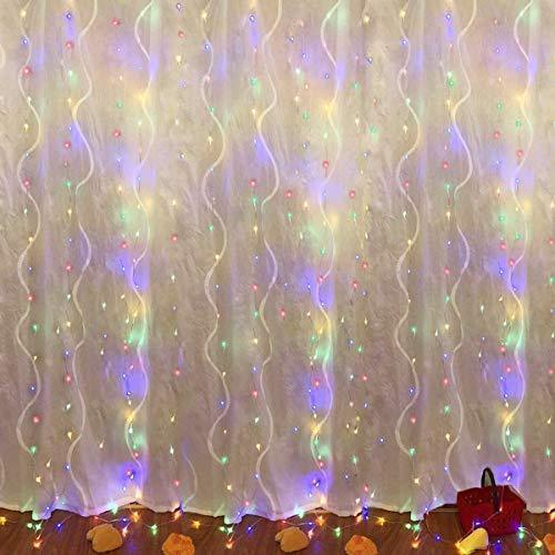 Juhefa Curtain Lights, USB Powered Fairy Lights String,IP64 Waterproof & 8 Modes Twinkle Lights for Parties, Bedroom Wedding,Valentines' Day Wall Decorations (300 LEDs,9.8x9.8Ft, Warm White)