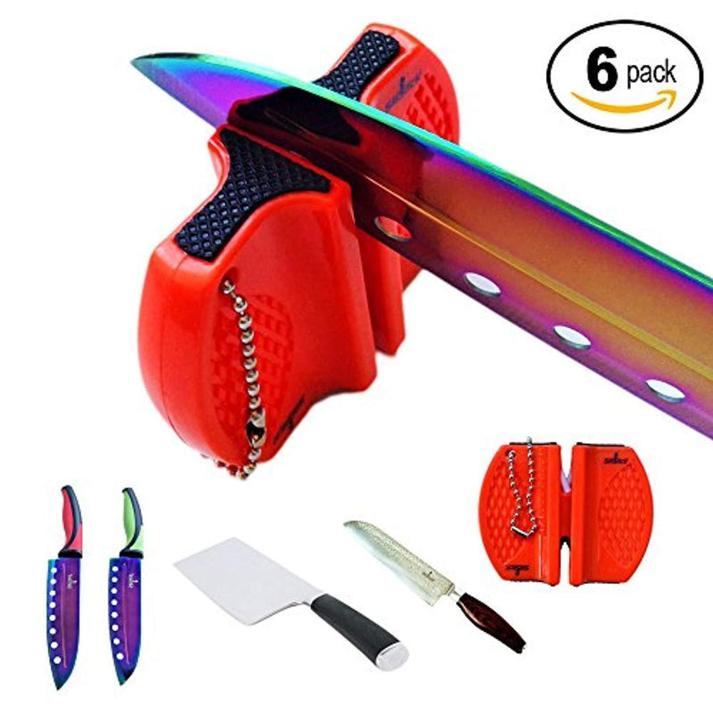 SiliSlick Bundle of 6. 2 Stage Portable Knife Sharpener. Tungsten and Ceramic blades for Complete and accurate sharpening