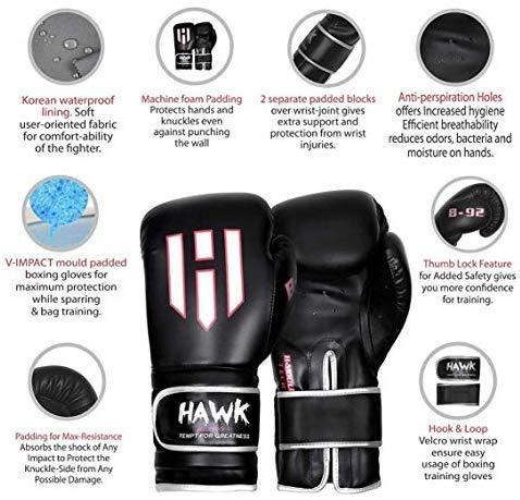Hawk Boxing Gloves for Men & Women Training Pro Punching Heavy Bag Mitts UFC MMA Muay Thai Sparring Kickboxing Gloves, 1 Year Warranty!!!!