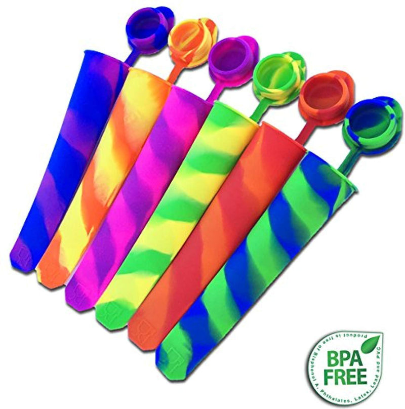 Silicone Popsicle Molds with Attached Lids - Set of 6 -  and Ice Pop Stand