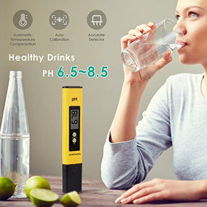 Digital PH Meter, VANTAKOOL PH Meter 0.01 PH High Accuracy Water Quality Tester with 0-14 PH Measurement Range for Household Drinking, Pool and Aquarium Water PH Tester Design with ATC (Blue) (yellow)