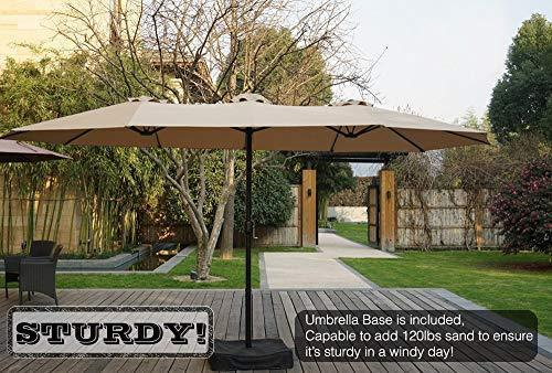 Kozyard Butterfly 14' Outdoor Patio Double-Sided Aluminum Umbrella with Crank and Base