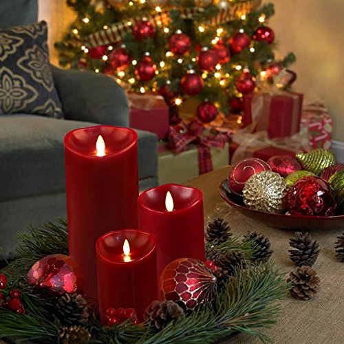 "Luminara LED Flameless Candles, Luminara Flameless Real Wax Moving Wick LED Candle for Home/Party/Halloween/Christmas/Wedding Decor with Timer Control Vanilla Scent 3.5"" x 5"" - Ivory"