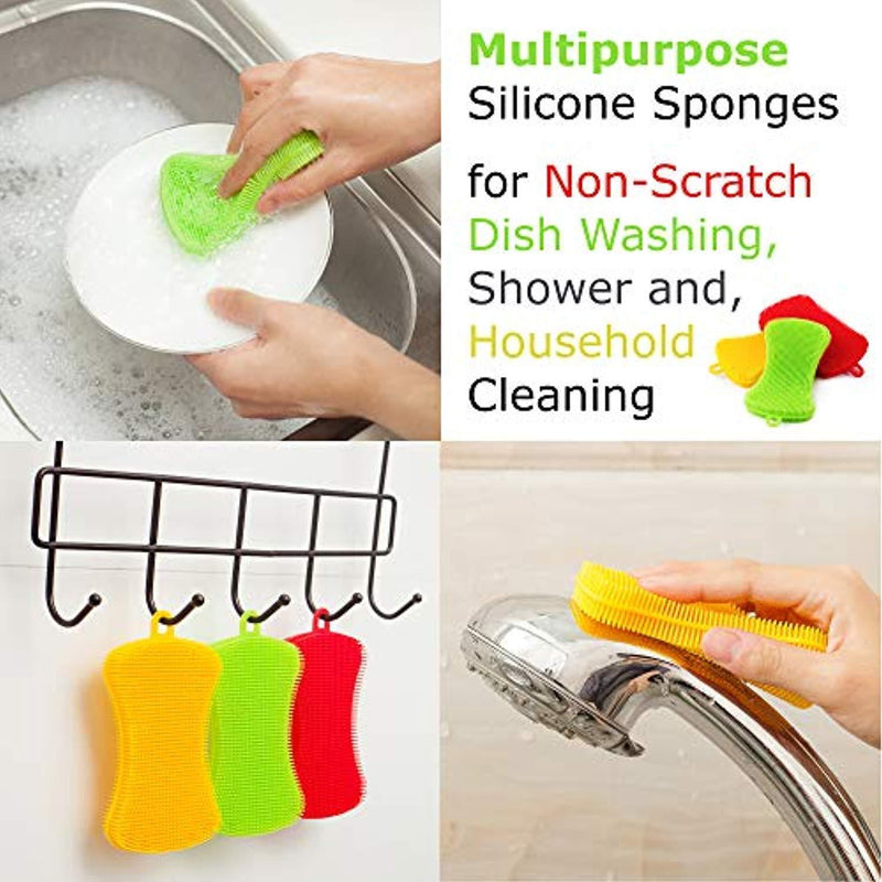 Miracle Market Silicone Dish Sponge 4.72 x 2.75 x 0.62 inch, 3 Pack | Gentle and Hygienic Kitchen Silicone Sponge for Non-Scratch Dish Washing, Cleaning | Colorful Multipurpose Dish Scrubber