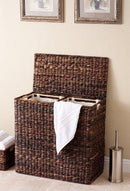 BirdRock Home Oversized Divided Hamper with Liners (Espresso) | Made of Natural Woven Abaca Fiber | Organize Laundry | Cut-Out Handles for Easy Transport | Includes 2 Machine Washable Canvas Liners