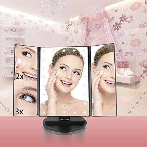 Lighted Makeup Mirror, sanipoe 22 Led Trifold Vanity Mirror with Lights, 3X 2X 1X Magnification Touch Screen 180 Degree Rotation, Removable 10X Cosmetic Spot Mirror as FREE GIFT for Home Beauty Bathroom