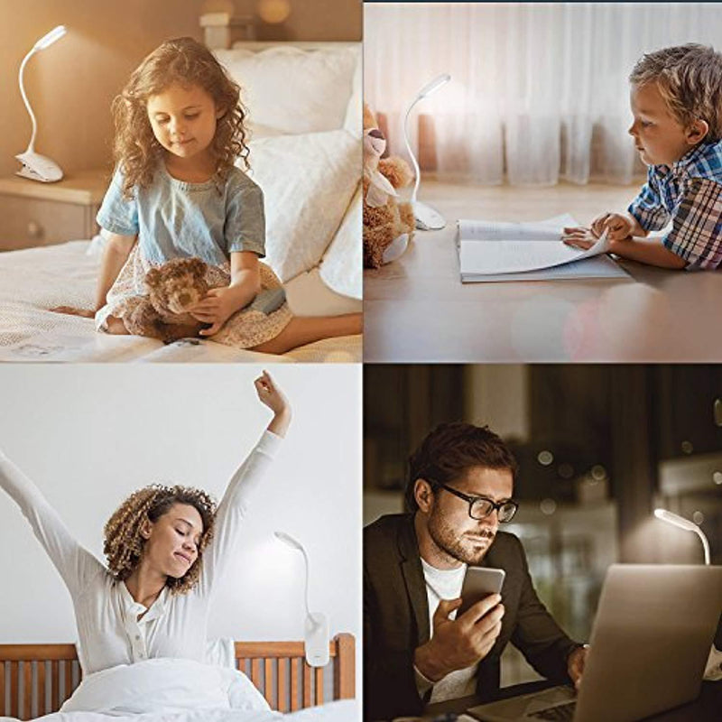Led Clip Reading Light, Raniaco Daylight 12 Leds Reading Lamp-3 Brightness,USB Rechargeable, Touch Switch Bedside Book Light with Good Eye Protection Brightness