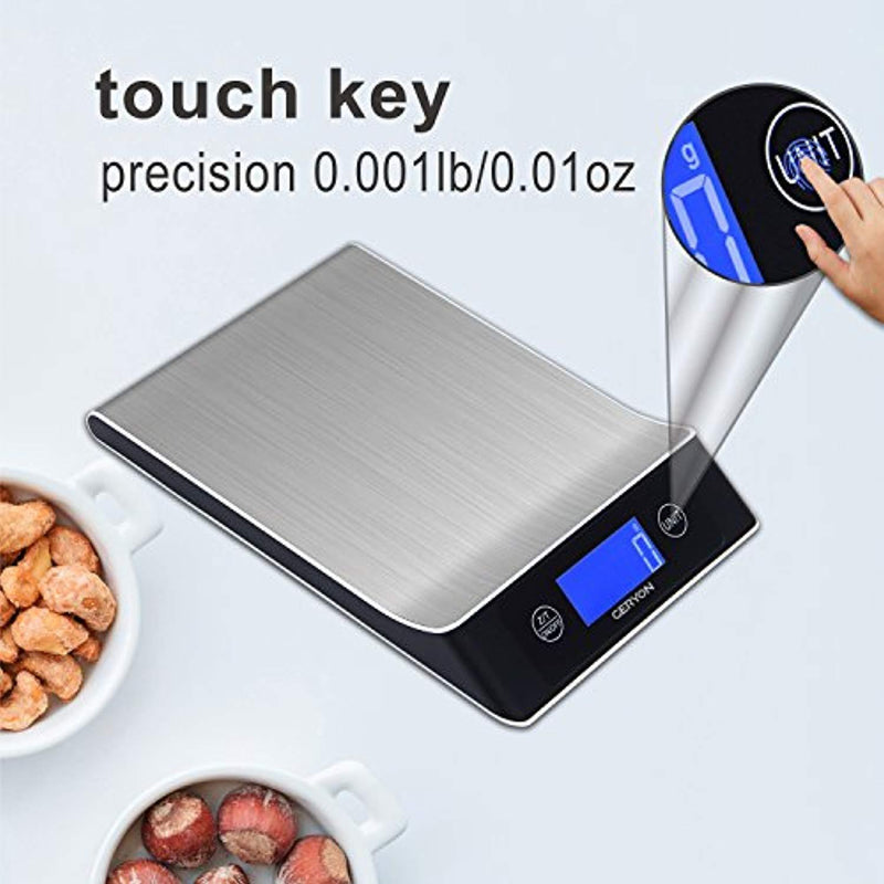 Food Scale Geryon Kitchen Cooking Scale, Multifunction & Electric, Food Weighing Used for Weed, Meat, Coffee, Baking -- Stainless Steel