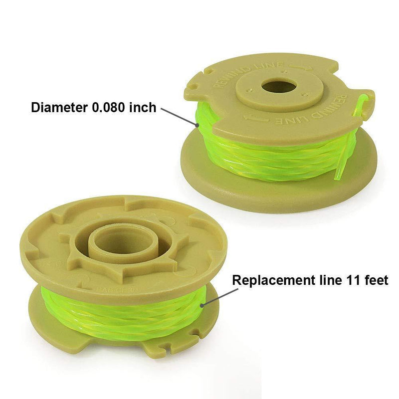 "Thten Weed Eater Replacement Spools Compatible with Ryobi One Plus+ 18V 24V 40V AC80RL3 with AC14HCA String Trimmer Cap Covers 11ft 0.080"" Cordless Auto-Feed Twist Single Line (6 Spool, 1 Cap) by Faracent"