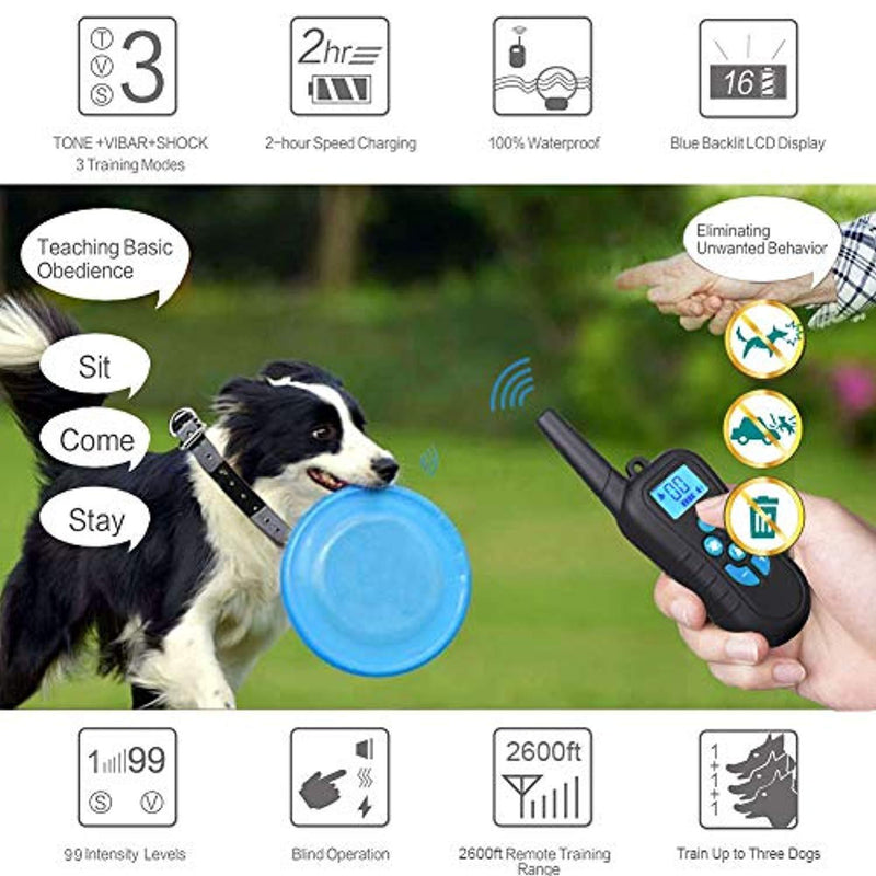 LINNSE Shock Collar for Dogs, Dog Training Collar with 1650ft Remote Control 100% Waterproof and Rechargeable Dog Shock Collar with Remote Dogs