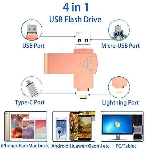 D-elfin Photo Stick for iPhone USB Flash Drive Memory Stick Backup Drive iOS Pendrive 128GB Photostick Mobile for External Storage iPad USB 3.0 iPhone OTG Android Type C iPhone Jump Drive (Black)