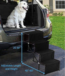 Golden Coast Unlimited Dog Car Accordion Folding Stairs - Metal Frame Collapsible Pet Ramp with Four Steps - Lightweight, Portable, Adjustable Ramp Ladder for Car, SUV, Truck, Couch, Bed