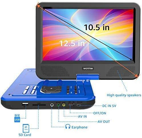 "WONNIE 12.5 Inch Portable DVD Player with 4 Hour Rechargeable Battery,10.5"" Swivel Screen, USB/SD Slot (BLUE)"