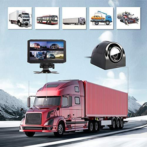 Vsysto Dash cam Backup Camera Front/Rear/Sides 4 Channels Waterproof Lens for Truck/Bus/Trailer/RV/Tractor DVR Camera Recording System with Dual Waterproof Infrared Night Vision Lens, 7.0'' Monitor