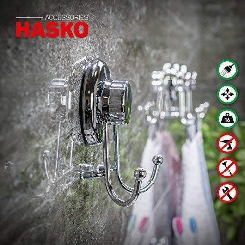 HASKO accessories - Powerful Vacuum Suction Cup Hook Holder - Organizer for Towel, Bathrobe and Loofah - Strong Stainless Steel Hooks for Bathroom & Kitchen, Towel Hanger Storage, Chrome (2 Pack)