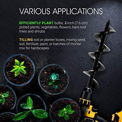 7Penn Garden Plant Flower Bulb Auger 3in x 24in Rapid Planter – Post or Umbrella Hole Digger for 3/8in Hex Drive Drill