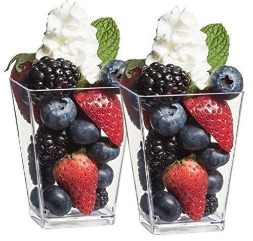 Zappy 50 5 oz Tall Square Clear Dessert Cups and 50 Tasting Spoons Dessert Glasses Shot Glasses Trifle Bowl Clear Disposable Plastic Dessert Tumbler Cups Party Cups