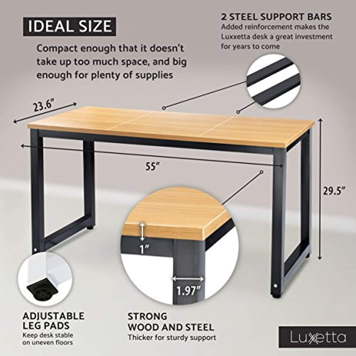 """Luxxetta Office Computer Desk – 55"""" x 23"""" White Laminated Wooden  Particleboard Table and Black Powder Coated Steel Frame - Work or Home –  Easy"""