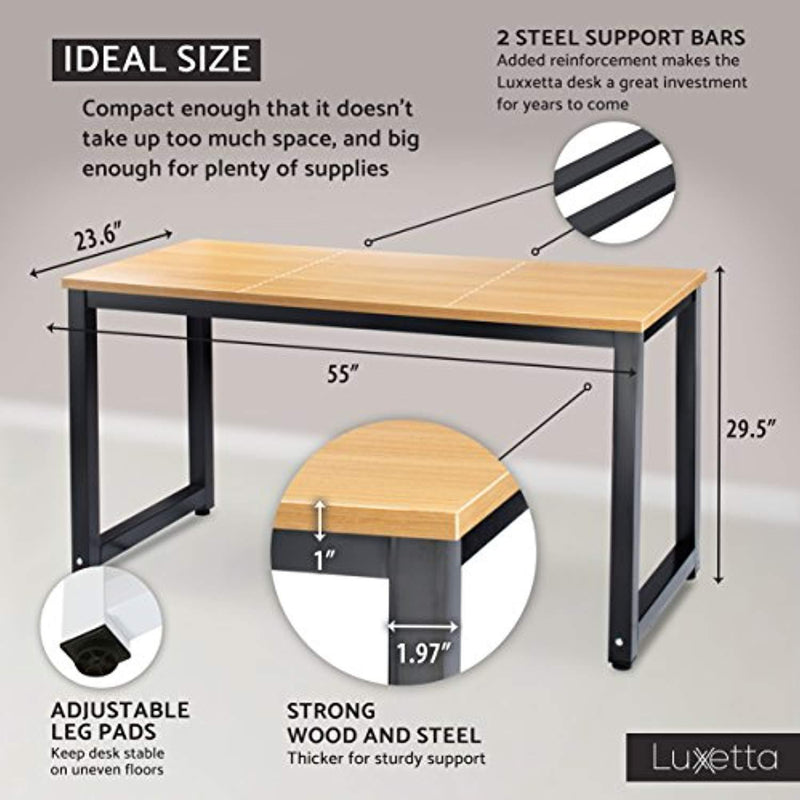 "Luxxetta Office Computer Desk – 55"" x 23"" White Laminated Wooden Particleboard Table and Black Powder Coated Steel Frame - Work or Home – Easy Assembly - Tools and Instructions Included"