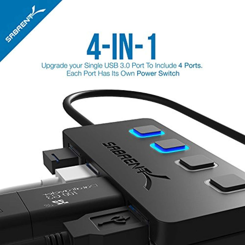 Sabrent 4-Port USB 3.0 Hub with Individual Power Switches and LEDs (HB-UM43)