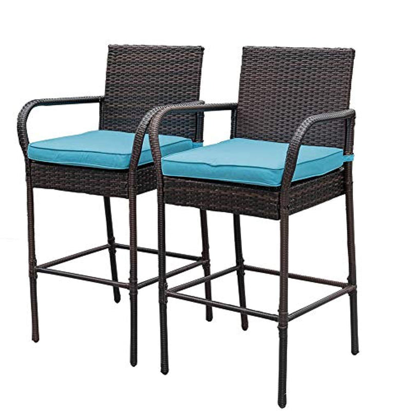 Sundale Outdoor 2 Pcs All Weather Patio Furniture Set Brown Wicker Barstool with Blue Cushions, Back Support and Armrest