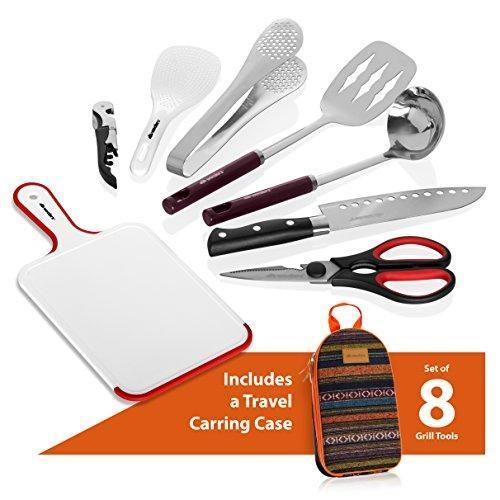 Wealers Camp Kitchen Utensil Organizer Travel Set Portable BBQ Camping Cookware Utensils Travel Kit Water Resistant Case|Cutting Board|Rice Paddle|Tongs|Scissors|Knife and Bottle Opener