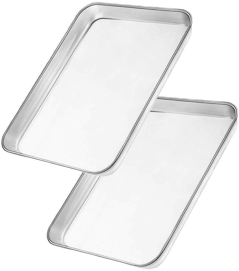 10 X 8 inch Bangder Baking Sheet Pan for Toaster Oven Heavy Duty Stainless Steel Sheet Pan Easily Wipes Clean Set of 2 Mirror Finish Dishwasher Safe