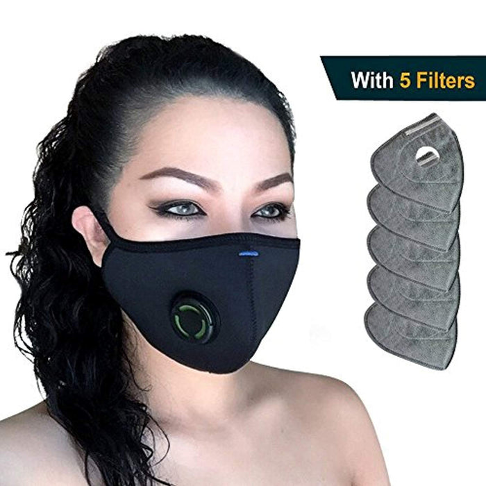Pm2 - Multi-layer 5 Dust Half Pollen N99 Grade Military Washable Allergy Respirator Face Carbon Mask Filtration Protection From Pollution Activated