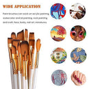 Paint Brush Set, Ekkong 15Pcs Art Paint Brushes with Free Palette Knife, Watercolor Sponge and Pop-up Carrying Case for for Acrylic, Oil, Watercolor and Gouache Painting, Adult and Kid (White)