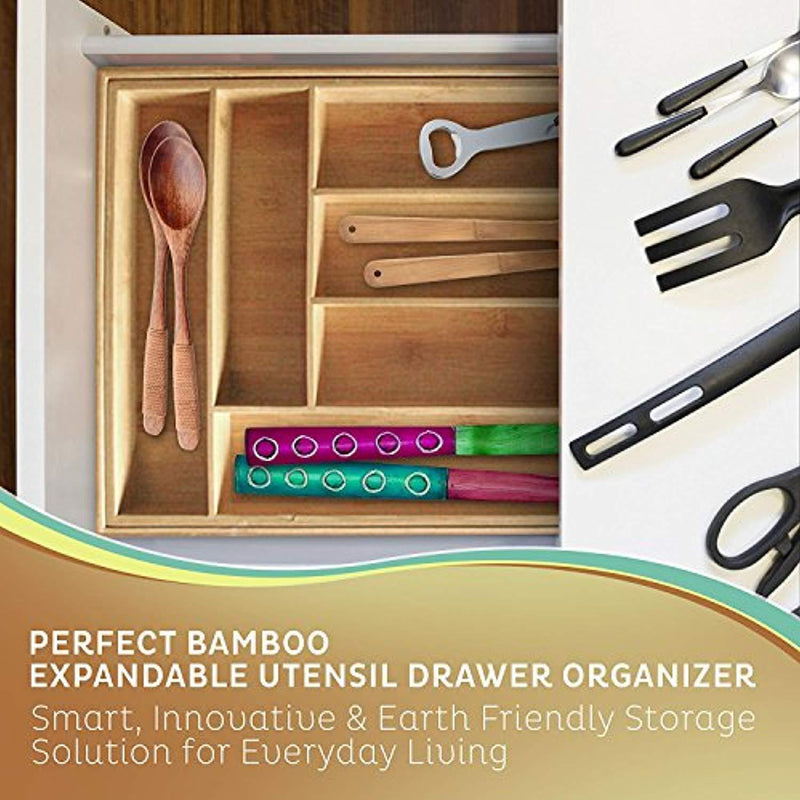 Kitchen Lovers Bamboo Expandable Utensil Organizer