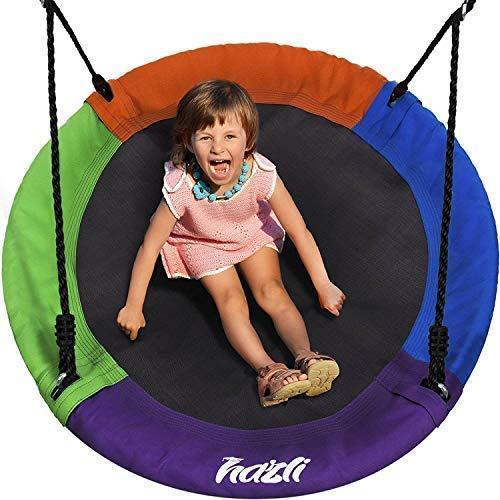 "Outdoor Round Tree Swing for Kids - 40"" Saucer Tree Swing for Kids-Large Tree Swings for Children - 400 lbs Tree Swings for Outside with Hanging Kit"
