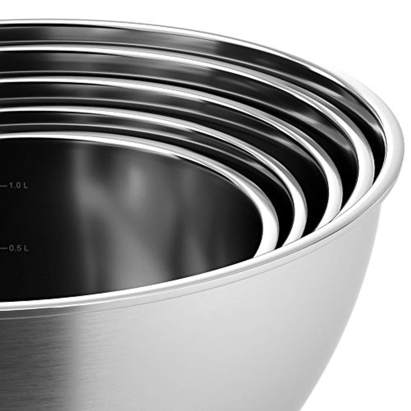 X-Chef Stainless Steel Mixing Bowls Set With 5 Lids and Anti-Slip Bottom, Measurement Marks, Non-Slip, Durable(Set of 5)