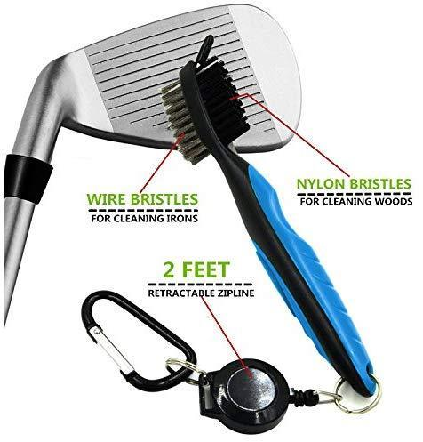 Yoport Golf Club Brush and Club Groove Cleaner 2 Ft Retractable Zip-line Aluminum Carabiner, Lightweight and Stylish, Ergonomic Design, Easily Attaches to Golf Bag