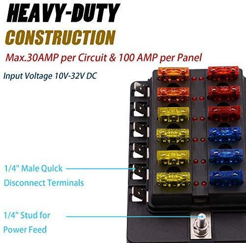 BlueFire 12 Way 30A 32V Blade Fuse Box Board with 24PCS Fuse + LED Warning Light for Car/Marine Boats/Automotive/Trike