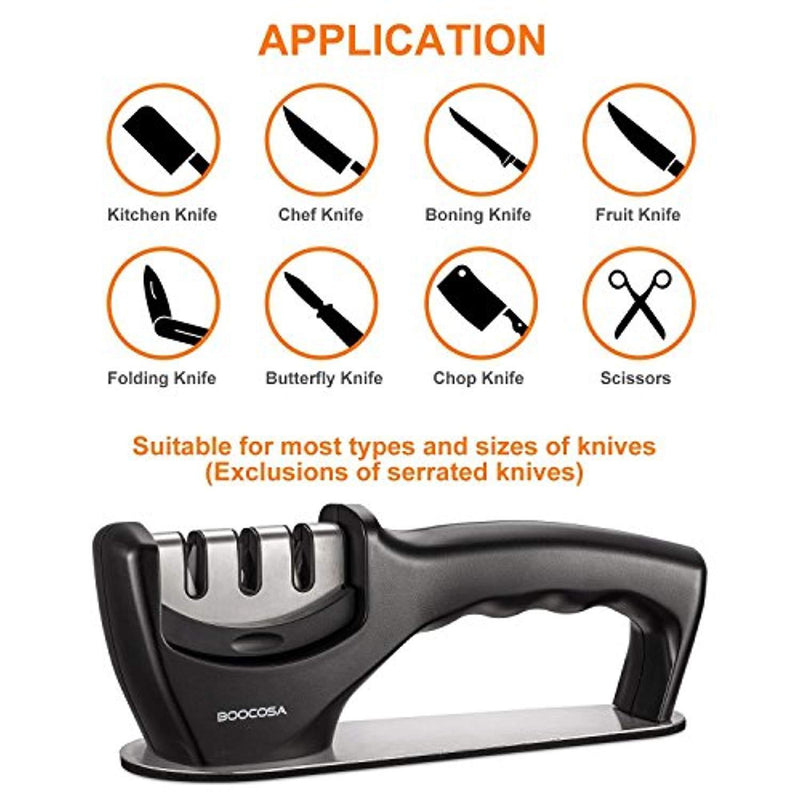 BOOCOSA Kitchen Knife Sharpener – The best 3-Stage Diamond Knife Sharpener Sharpening System Suit for Any Type of Knife, and Ergonomically Designed is Chef's Choice Knife Sharpener … (Black)