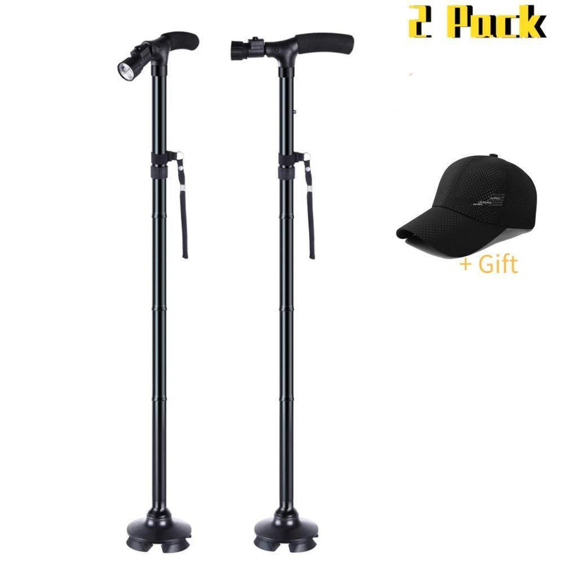 LabNovations Medical Posture Walking Cane, Portable Self-Standing 10 Height Lightweight Adjustable, Folding, Collapsible Hand Walking Stick for Men & Women. 360 Traction Tip