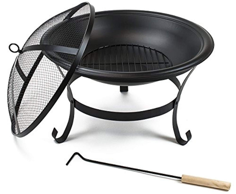 "Sorbus Fire Pit Bowl 22"", Includes Mesh Cover, Log Grate, Curved Legs, and Poker Tool, Great BBQ Grill for Outdoor Patio, Backyard, Camping, Picnic, Bonfire, etc (Black Fire Pit Bowl 22"")"