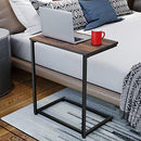 Homemaxs C Table Sofa Side End Table Wood Finish Steel Construction 26-Inch for Small Space