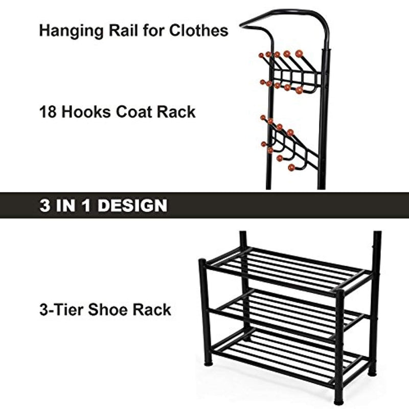SONGMICS Heavy Duty 18 Hooks Coat Rack with 3-Tier Shoe Rack Shelves for Entryway Metal Black URCR67B