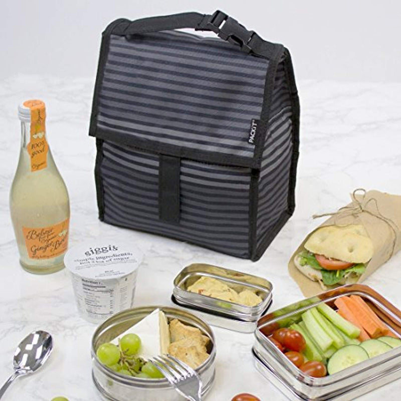 PackIt 10 inch 10 hour Freezable Foldable Reusable Multipal Uses Lunch Bag with Adjustable Strap (Grey Neon Arrows)