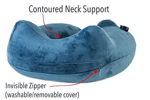 AirComfy Inflatable Neck Travel Pillow - Luxuriously Soft Washable Cover and Compact Packsack with Travel Clip - for Lightweight Support in Airplane, Car, Train, Bus and Home - Gray