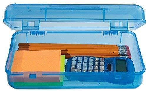 "1InTheoffice Pencil Box, Translucent""Assorted Colors"" (4 Pack) (Light Colored)"