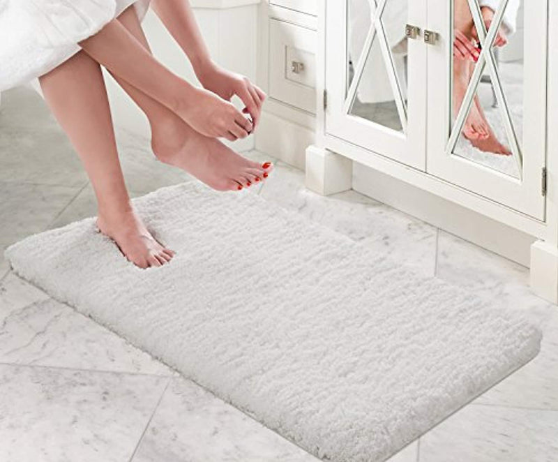 "Lifewit 20"" x 32"" Soft Shaggy Bath Mat Non-Slip Rubber Bathroom Rug Mats Water Absorbent White"